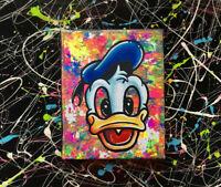 Disney BABY Donald duck pop art acrylic painting on canvas black light fun art