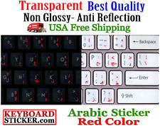 GERMAN KEYBOARD STICKERS WITH RED LETTERING TRANSPARENT BACKGROUND