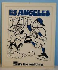 1969 Coca-Cola Coke Los Angeles Dodgers Baseball Plastic Advertising Sign