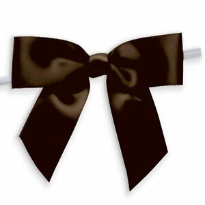 Weststone 50pcs Satin Brown Bows Pre-Tied Bows or Self-Adhesive Bows