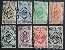 1942 part set 8 of 15 from French Indian  Settlements 7 MH 1 used CV £7+