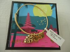 Alex and Ani PALM LEAF Bangle Bracelet Russian Gold New W/Tag Card & Box