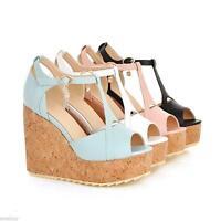 Ladies Wedge Heel Platform Shoes Peep Toe Buckle Ankle Strap Sandal UK Size 1~10