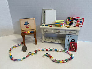 Vintage Artisan Easel & Art Supplies For Childs Room Dollhouse Miniature 1:12