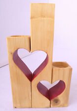 Set of 3 Handmade Red Heart Shaped Wooden Tea Light Holders Rustic Beech colour