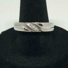 10K white gold band with diamonds