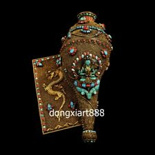 Tibet pure silver wire inlay gemstone turquoise Guanyin conch sea snail Charonia