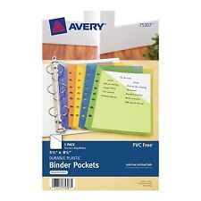 Avery Mini Binder Pockets, Fits 3-Ring and 7-Ring Binders, Assorted, Pack of 5