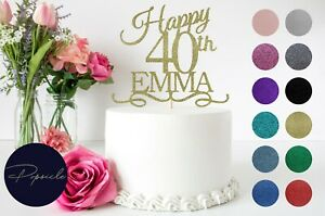 Happy Birthday Glitter Cake Topper Personalised Age 18th 21st 30th 40th 50th