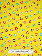 Timeless Treasures Fabric - Red Green Purple Owl Toss on Yellow C6737 YARDS