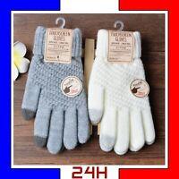 Gants laine tactile hiver femme homme Gloves gant enfant chaud smartphone