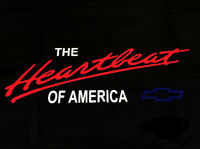 Chevy Heartbeat of America Colored Vinyl Decal Sticker Chevrolet Red White Blue