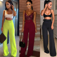 Womens Wide Leg Long Flares High Waist Trousers Belted  Party Pants Bell Bottom