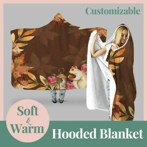 Personalized Squirrel Autumn Floral Hooded Throw Blanket Fleece Hoodie Cape