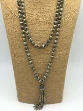 Fashion gemstone long knot leopard skin Necklace crystal tassel woman jewelry