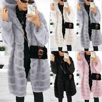Womens Fleece Jacket Fluffy Faux Fur Coat Casual Winter Warm Outerwear Overcoat