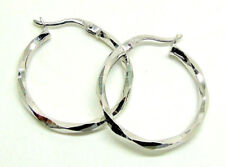 9CT HALLMARKED WHITE GOLD POLISHED DIAMOND CUT 22MM ROUND HOOP CREOLE EARRINGS