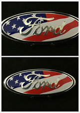 "2 Set American Flag FORD F-150 EXPEDITION OVAL EMBLEM FRONT+REAR  9''+7"" Badges"