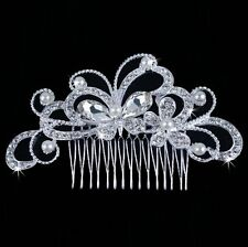 Tiara Diadem Haarschmuck Blumen Schmettetling Strass Perlen Hochzeit Haargesteck