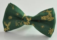 Gold Elk Deer Green Christmas Xmas Cotton Bow tie Bowtie for Men / Youth / Boy
