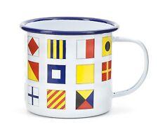 Kikkerland Nautical Ship Signal Flags Enamel Mug Camping Tea Coffee Tin Cup Gift