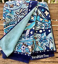 Vera Bradley Beach Towel DAISY PAISLEY BLUE Oversized SOFT Plush Pool Lake NWT