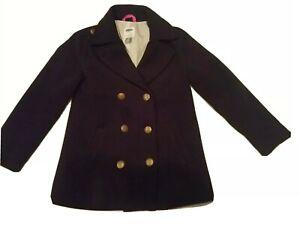 Girls Old Navy Black Wool Pea Coat Winter Coat Size M (8)