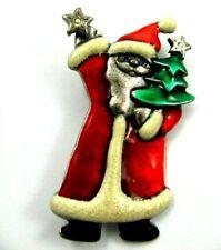 Ajmc It Must Be Christmas! Santa Claus & Tree Brooch Pin