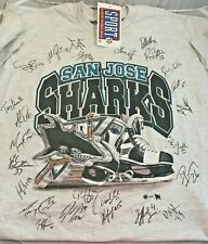 Vintage 1999 Autographed Signed By Team San Jose Sharks NHL T-Shirt Tee Shirt XL
