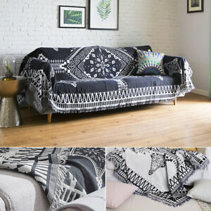 Warm  Cotton woven Blanket HERRINGBONE Sofa Couch throw fringed cover blanket👍