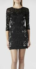 "**SALE* NEW""ALLSAINTS"" EMBELLISHED CHARCOAL ""IVY"" LG SLEEVE DRESS SIZE ""8"" wTAGS"