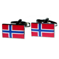 Red, White & Blue Norway Cufflinks With Gift Pouch Norwegian Country Flags New