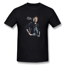 Mens Johnny Hallyday Star Homme Noir Poster Music T-Shirt Black
