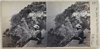 Posillipo Napoli Italia Fotografia Stereo Amatore Vintage Albumina