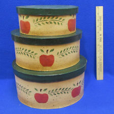 Nesting Boxes Set 3 Country Apple Design Oval Green Red Brown Pressed Cardboard