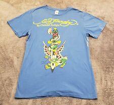 Ed hardy tshirt Mens Medium blue Christian Audigier Dagger dragon flash tattoo
