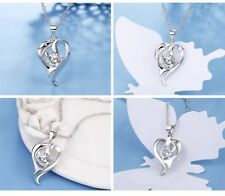 Sterling Silver Heart Gemstone Crystal Dolphin Pendant Necklace Chain Box K28A