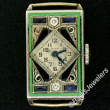 Art Deco 14K Gold Filled Ladies Elgin Rectangular Old Diamond Enamel Wrist Watch