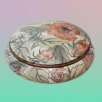 "Andrea by Sadek Trinket Box Porcelain Vintage Floral HIBISCUS Large 7"" Round"
