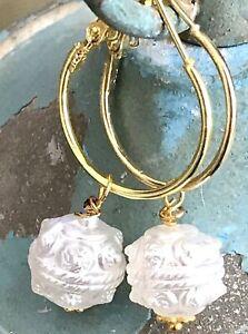 Beautiful Vintage Beads & Gold Lever Back Hoop Dangle Earrings.