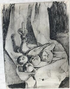 Candle & Rolls Still Life Oil Crayon Drawing-1969-August Mosca
