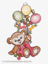 """Fensterbild """"Teddy"""" Plauener Spitze ® Fensterdekoration Kinderzimmer rosa / pink"""