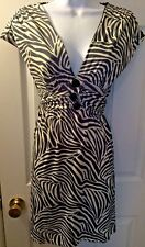 New Women's $128 LA BEFANA Sweet Pea Dress Zebra Jersey Knit Black White Sz M