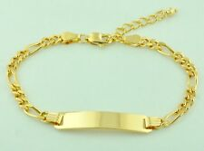18K Solid Yellow Gold Figaro Link Kids Baby I D Bracelet  6+1inches  5.90 grams
