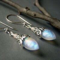 Silver Retro Women Moonlight Gemstone Ear Dangle Hook Earrings Jewelry Gift