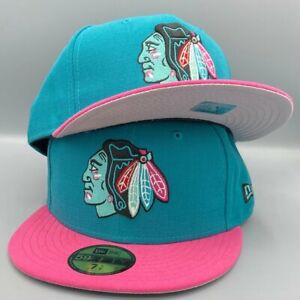 Chicago Blackhawks 59FIFTY New Era Teal & Pink Fitted Hat