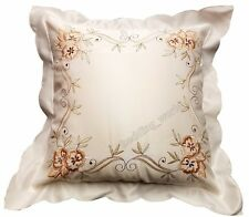 PACK OF 2 LUCY CUSHION COVERS EMBROIDERED FLOWER LEAF SCROLL CREAM LATTE GREEN