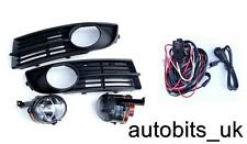 FOG LIGHTS LIGHT LAMPS BUMPER GRILLS L & R FOR VW TOURAN 03-06 + WIRING KIT NEW