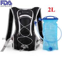 Hydration Pack + 2L Water Bladder Bag Camelbak Backpack Hiking Camping Running