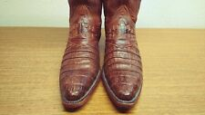 Womens 7 B Lucchese Brown Exotic CAIMAN Western Cowboy Boots, WORN TWICE!!